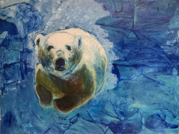 Wheeler_Polar_Bear_in_Blue_Water_36x48